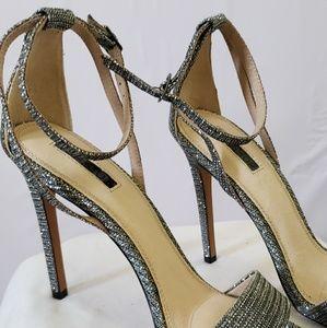 Topshop Shoes - Metallic Silver Glitter Embellished Heels (10)
